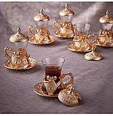 Набор восточных стаканов для чая Sena Kusakli золотистый на 6 персон