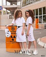 Длинное удобное спортивное платье для девочки на рост от 110 до 164 см