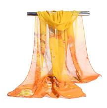 Женский шифоновый шарфик желтый с птичками - размер шарфа приблизительно 145*48см, 100% вискоза