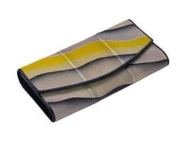 Кошелек из кожи ската Ekzotic leather Бежево-желтый (stw06)