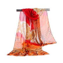 Женский шифоновый шарфик красный с цветочками - размер шарфа приблизительно 145*48см, 100% вискоза