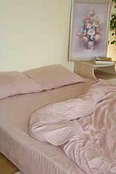 Семейный набор постельного белья из страйп-сатина, 100% хлопок, цвет беж