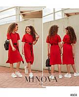 Красное  удобное спортивное платье для девочки на рост от 110 до 164 см