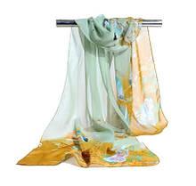 Женский шифоновый шарф с птицами разноцветный - размер шарфа приблизительно 145*48см, 100% вискоза