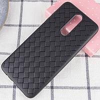 """Силиконовая накладка чехол """"Плетенка"""" для Xiaomi Redmi K30 черный"""