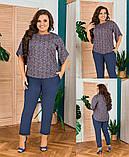 Шикарный женский летний костюм:блуза и брюки,размеры:48-50,52-54,56-58., фото 2