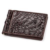 Зажим Ekzotic Leather  из натуральной кожи крокодила Коричневый (cc 06)