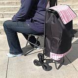 Сумка-тележка со стулом - дорожная сумка на колесах (синяя), фото 8