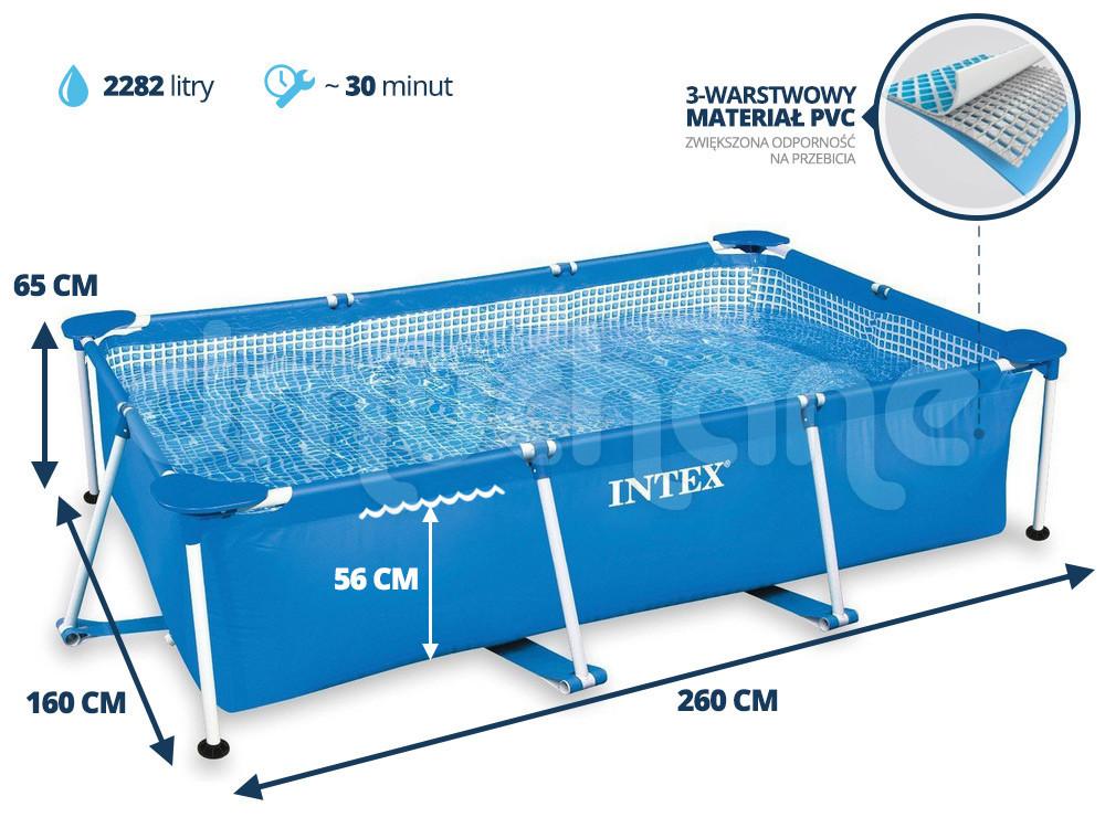 Басейн каркасний Intex 2282л / 260*160*65 см