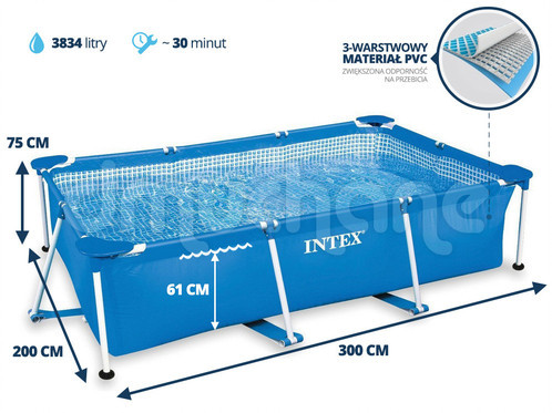 Бассейн каркасный Intex 3834л / 300*200*75 см