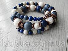 Браслет ′Голубой и белый Коралл и лазурит′