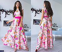 Шелковое длинное платье с поясом арт 1076