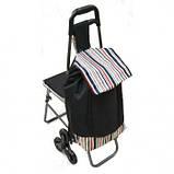 Сумка-тележка со стулом - дорожная сумка на колесах (синяя), фото 7