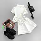 Женский летний костюм с шортами и футболкой с воротником стойкой 66ks713Е, фото 2