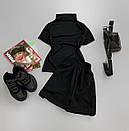Женский летний костюм с шортами и футболкой с воротником стойкой 66ks713Е, фото 3