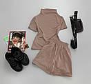 Женский летний костюм с шортами и футболкой с воротником стойкой 66ks713Е, фото 4