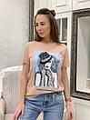 Прямая женская летняя футболка из трикотажа с рисунком в расцветках 33ma293, фото 2