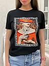 Прямая женская летняя футболка из трикотажа с рисунком в расцветках 33ma293, фото 3