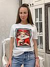 Прямая женская летняя футболка из трикотажа с рисунком в расцветках 33ma293, фото 4