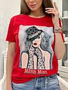 Прямая женская летняя футболка из трикотажа с рисунком в расцветках 33ma293, фото 6