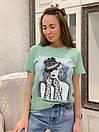Прямая женская летняя футболка из трикотажа с рисунком в расцветках 33ma293, фото 7