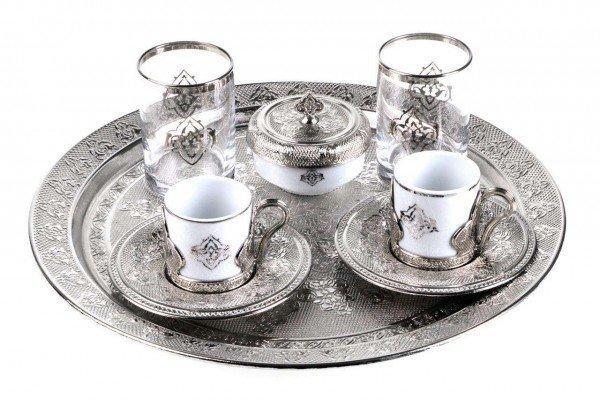 Набор чашек для кофе Романс Sena серебристый на 2 персоны
