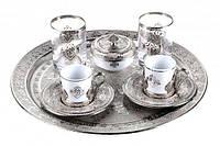 Набор чашек для кофе Романс Sena серебристый на 2 персоны, фото 1
