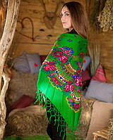 Украинский платок (125х125см, зеленый)