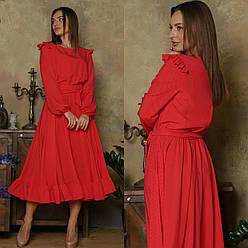 Платье миди с расклешенной юбкой и рукавом фонариком 64plt1158