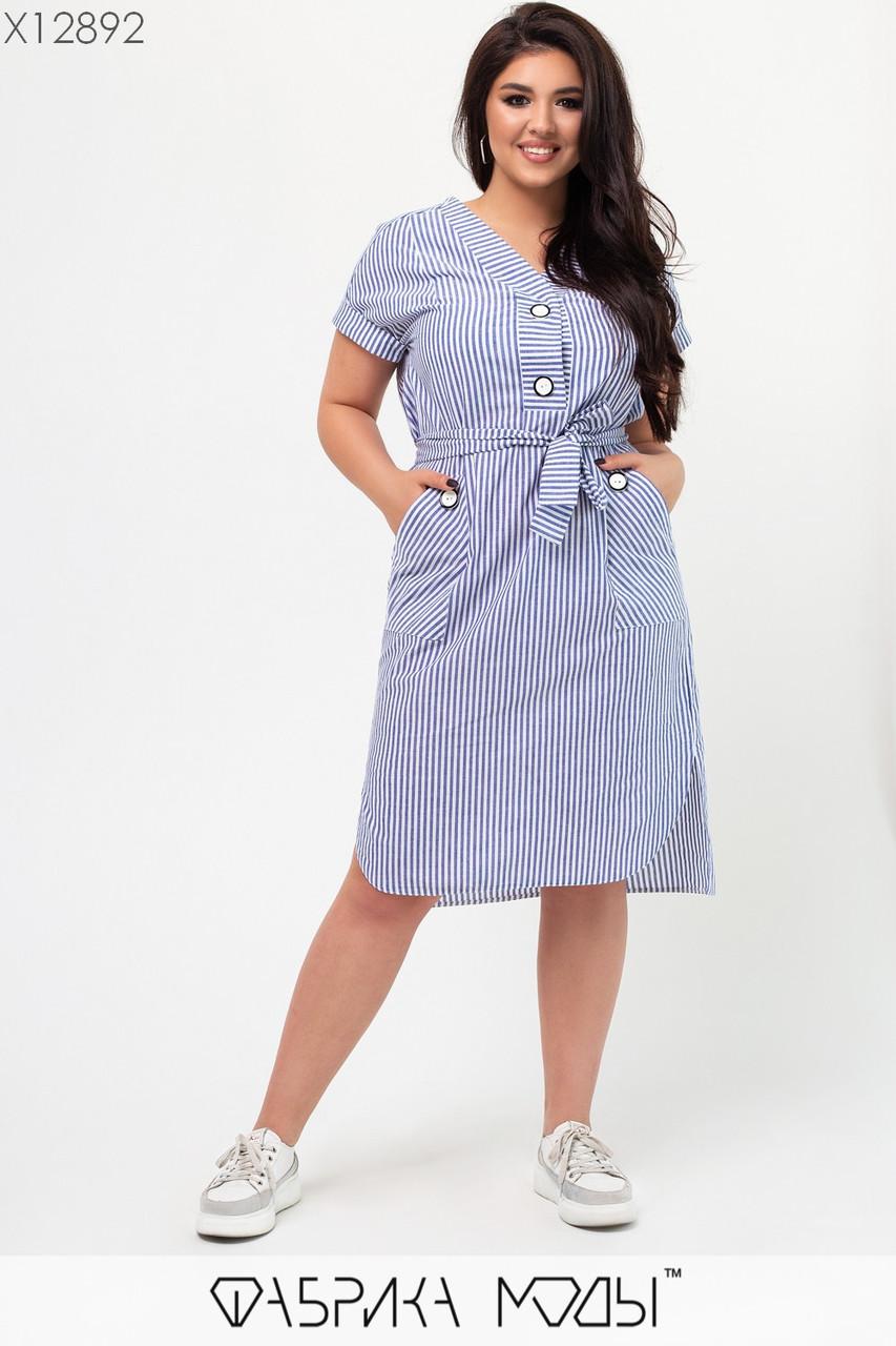 Коттоновое летнее прямое платье в больших размерах с карманами и коротким рукавом 1uk660