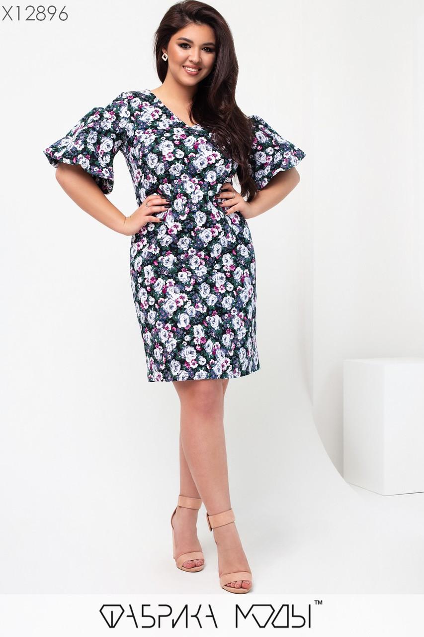 Летнее платье в цветочный принт в больших размерах с широкими рукавами 1uk661