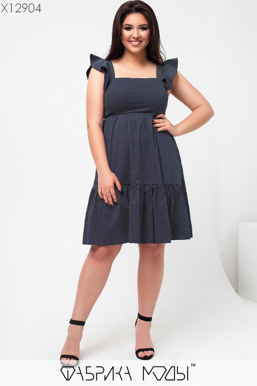 Коттоновое платье на лето в больших размерах с расклешенной юбкой и квадратным вырезом горловины 1uk663