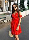 Летнее платье на запах с рюшами и открытыми плечами 17plt1161, фото 3