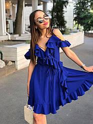Летнее платье на запах с рюшами и открытыми плечами 17plt1161