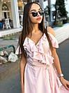 Летнее платье на запах с рюшами и открытыми плечами 17plt1161, фото 4