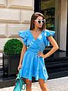 Хлопковое летнее платье с верхом на запах и расклешенной юбкой, на плечах воланы 17plt1164, фото 4