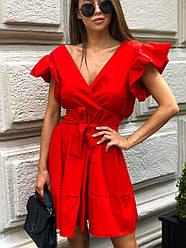 Хлопковое летнее платье с верхом на запах и расклешенной юбкой, на плечах воланы 17plt1164