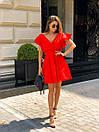 Хлопковое летнее платье с верхом на запах и расклешенной юбкой, на плечах воланы 17plt1164, фото 6