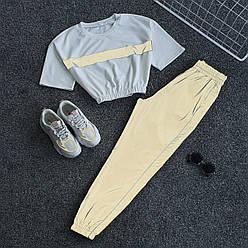 Спортивный женский летний костюм со светоотражающими штанами карго и укороченной футболкой 66spt922Q