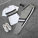 Женский летний спортивный костюм с футболкой и светоотражающими штанами на манжетах 66spt923Q, фото 3