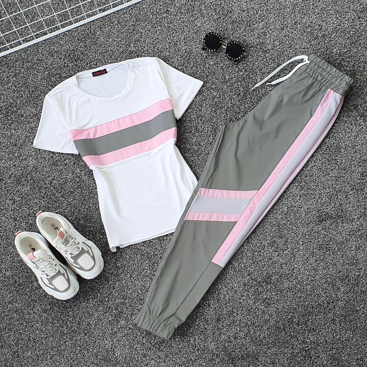 Женский летний спортивный костюм с футболкой и светоотражающими штанами на манжетах 66spt923Q
