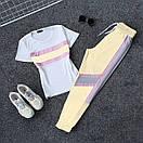Женский летний спортивный костюм с футболкой и светоотражающими штанами на манжетах 66spt923Q, фото 4