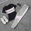 Женский летний спортивный костюм с футболкой и светоотражающими штанами на манжетах 66spt923Q, фото 5