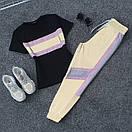 Женский летний спортивный костюм с футболкой и светоотражающими штанами на манжетах 66spt923Q, фото 6