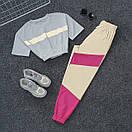 Женский летний спортивный костюм с укороченной футболкой на резинке и штанами со светоотражающими вставками 66spt925Q, фото 6
