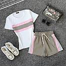 Женский летний спортивный костюм с футболкой и шортами со светоотражающей плащевкой 66spt927Q, фото 2
