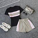 Женский летний спортивный костюм с футболкой и шортами со светоотражающей плащевкой 66spt927Q, фото 3