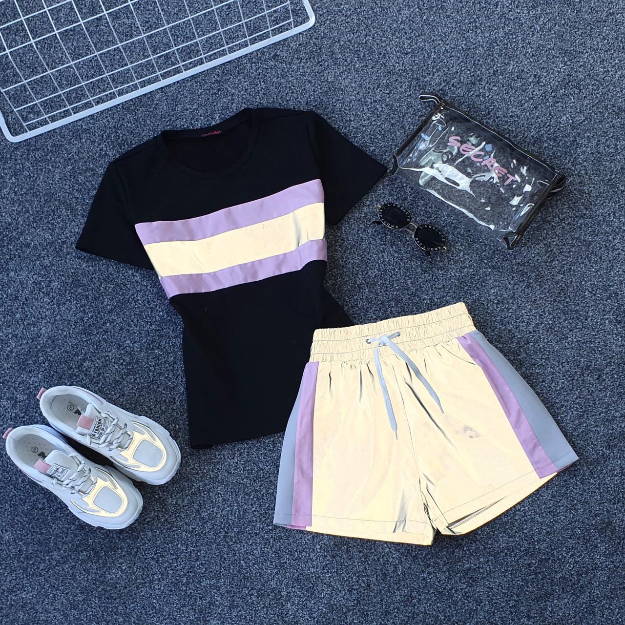 Женский летний спортивный костюм с футболкой и шортами со светоотражающей плащевкой 66spt927Q