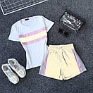 Женский летний спортивный костюм с футболкой и шортами со светоотражающей плащевкой 66spt927Q, фото 4