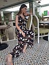 Принтованный летний женский комбинезон клеш без рукава с верхом на запах 45kos709, фото 4